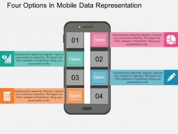 ppts Four Options In Mobile Data Representation Flat Powerpoint Design