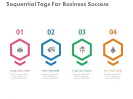 ppts Four Sequential Tags For Business Success Flat Powerpoint Design