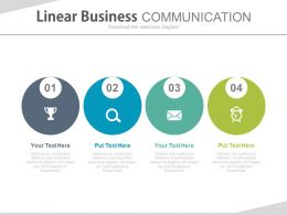 ppts Four Staged Linear Business Communication And Time Management Flat Powerpoint Design