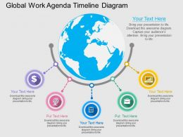 ppts Global Work Agenda Timeline Diagram Flat Powerpoint Design