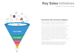 ppts Key Sales Initiatives Funnel For Social Media Powerpoint Slides