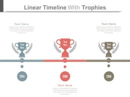 ppts Linear Timeline With Trophies For Success Representation Flat Powerpoint Design