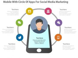 ppts Mobile With Circle Of Apps For Social Media Marketing Flat Powerpoint Design