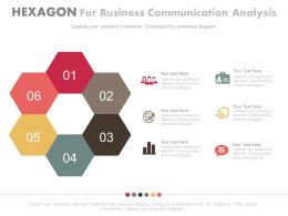 ppts Six Hexagons For Business Communication Analysis Flat Powerpoint Design