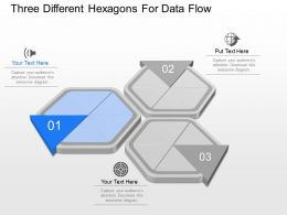 ppts Three Different Hexagons For Data Flow Powerpoint Template