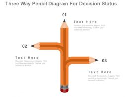 ppts Three Way Pencil Diagram For Decision Status Flat Powerpoint Design