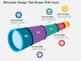 pptx Binocular Design Text Boxes With Icons Flat Powerpoint Design