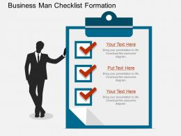 pptx Business Man Checklist Formation Flat Powerpoint Design