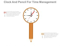 pptx Clock And Pencil For Time Management Flat Powerpoint Design