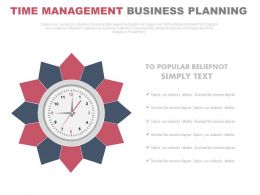 pptx Clock For Time Management And Business Planning Flat Powerpoint Design