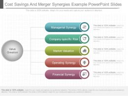 Pptx Cost Savings And Merger Synergies Example Powerpoint Slides