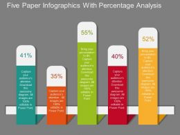 pptx Five Paper Infographics With Percentage Analysis Flat Powerpoint Design