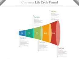 pptx Five Staged Customer Life Cycle Funnel Diagram Flat Powerpoint Design