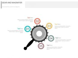 pptx_five_staged_gears_and_magnifier_diagram_flat_powerpoint_design_Slide01