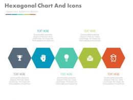 pptx Five Staged Hexagonal Chart And Icons For Our Services Flat Powerpoint Design