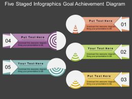 pptx Five Staged Infographics Goal Achievement Diagram Flat Powerpoint Design