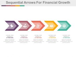 pptx Five Staged Sequential Arrows For Financial Growth Study Flat Powerpoint Design