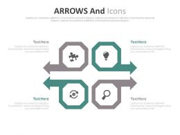 pptx Four Arrows And Icons For Business Idea Generation Flat Powerpoint Design