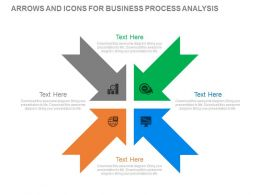 pptx Four Arrows And Icons For Business Process Analysis Flat Powerpoint Design