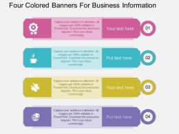 pptx Four Colored Banners For Business Information Flat Powerpoint Design