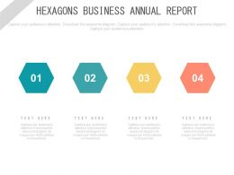 pptx Four Hexagons Business Annual Report Flat Powerpoint Design