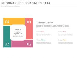 pptx Four Staged Infographics For Sales Data Flat Powerpoint Design