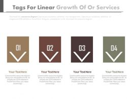 pptx Four Tags For Linear Growth Of Or Services Flat Powerpoint Design