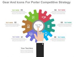 pptx Gear And Icons For Porter Competitive Strategy Flat Powerpoint Design