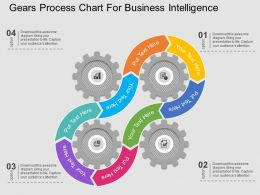 pptx Gears Process Chart For Business Intelligence Flat Powerpoint Design