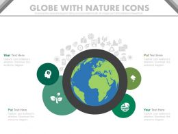 pptx Globe With Nature Icons For Save The Earth Mission Flat Powerpoint Design