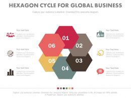 pptx Six Hexagons Cycle For Global Business Communication Flat Powerpoint Design