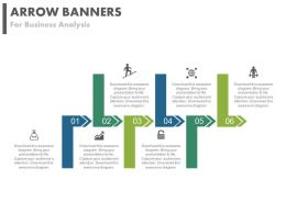 pptx Six Staged Arrow Banners For Business Analysis Flat Powerpoint Design