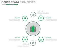 pptx Six Staged Good Team Principles Diagram Flat Powerpoint Design