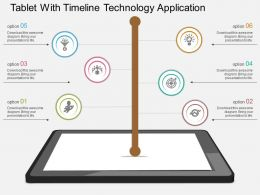 pptx Tablet With Timeline Technology Application Flat Powerpoint Design