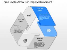 pptx Three Cyclic Arrow For Target Achievement Powerpoint Template