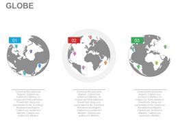 pptx Three Globes For Global Business Strategy Flat Powerpoint Design