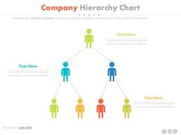 pptx Three Staged Company Hierarchy Chart Flat Powerpoint Design