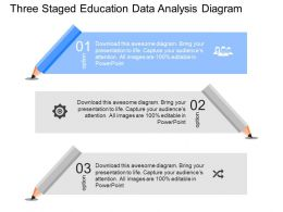 pptx Three Staged Education Data Analysis Diagram Powerpoint Template