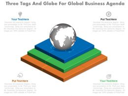 pptx Three Tags And Globe For Global Business Agenda Flat Powerpoint Design