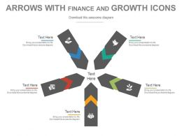 pptx View Arrows With Finance And Growth Icons Flat Powerpoint Design
