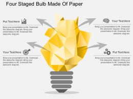 Pq Four Staged Bulb Made Of Paper Flat Powerpoint Design