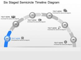 pq Six Staged Semicircle Timeline Diagram Powerpoint Template