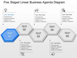 pr Five Staged Linear Business Agenda Diagram Powerpoint Template