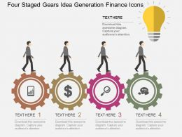 Pr Four Staged Gears Idea Generation Finance Icons Flat Powerpoint Design