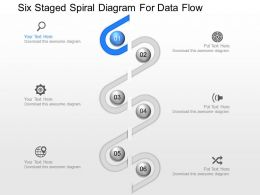 pr Six Staged Spiral Diagram For Data Flow Powerpoint Template