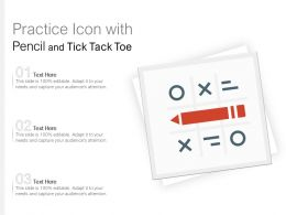 Practice Icon With Pencil And Tick Tack Toe