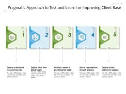 Pragmatic Approach To Test And Learn For Improving Client Base