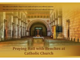 Praying Hall With Benches At Catholic Church