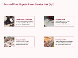 Pre And Post Nuptial Event Service List Cards Ppt Layouts