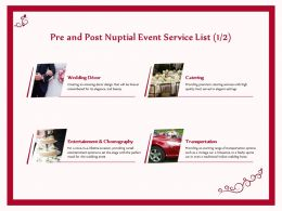 Pre And Post Nuptial Event Service List Catering Ppt Gallery